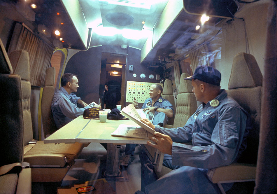 The Apollo 11 crew relaxes in the quarantine van on July 26, 1969. (apolloarchive.com)